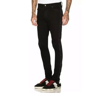 AMIRI Glitter Strip Stack Jeans Denim